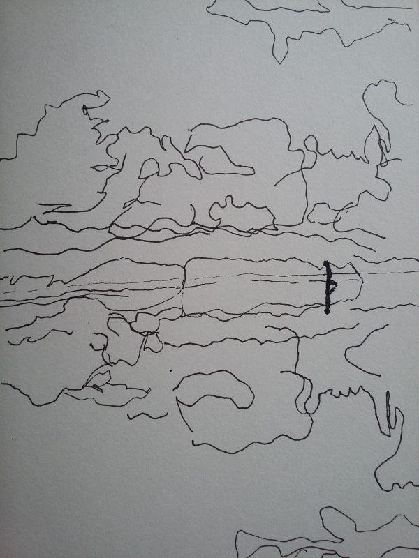 Wolkenlandschap met wandelaar, drijfzand